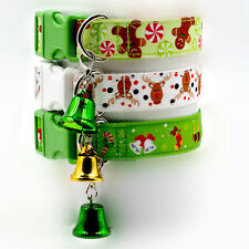 NEW Adjustable Pet Dog Cat Collar Christmas Xmas Design Collars With Small Bell