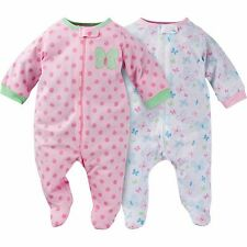 NEW GERBER Newborn Baby Girl Zipper Footie Pajamas Onesie 0-3 mo, 2 pk NWT