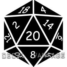 20 Sided Die Vinyl Sticker Decal D20 Dice RPG Gaming LARP - Choose Size & Color