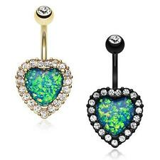Opal Heart Essentia Belly Ring Colorline Black Clear Fancy Dangle Sexy CZ Gem
