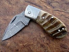 CUSTOM MADE, OUTSTANDING RAM HORN, MOSAIC DAMASCUS STEEL FOLDING POCKET KNIFE