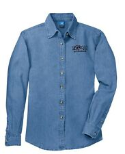 LOVE MY LABRADOODLE LADIES EMBROIDERED LONG SLEEVE DENIM SHIRT