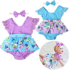 Baby Infant Girls Princess Floral Romper Dress Headband Outfit Party Set Clothes
