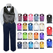 Color Choice 4pc Vest Bow Tie Boys Suit Navy Set Baby Toddler Kids Formal sz S-7