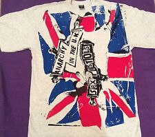 Sex Pistols Punk T-shirt Anarchy in the UK Union Jack Punk Flag Light Grey L  XL