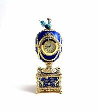 Faberge Egg music trinket box with Quartz Clock/Blue