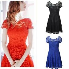 Women's Summer Short Sleeve Lace Floral Evening Party Cocktail Short Mini Dress