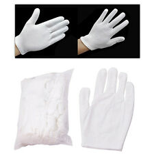 12 Pairs White Inspection Cotton Work Gloves Coin Jewelry Lightweight Flowery