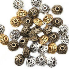 100Pcs Rondelle Metal Alloy Bicone Spacer Beads 6mm for Jewelry Making Flowery