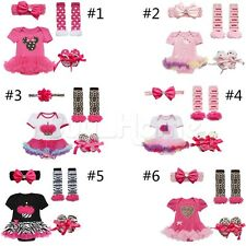 Newborn Infant Baby Girls Headband+Tutu Romper+Leg Warmers+Shoes Outfits Clothes