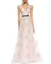 $11290.00 New Oscar de la Renta Blush Pink Gold Bow Embelllished Organza Gown 8