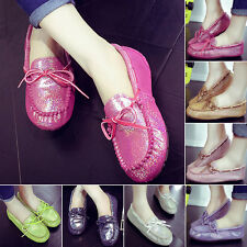 Plus size Genuine Leather Driving Boat Slip On Flats Loafers Ballet Shoes Size