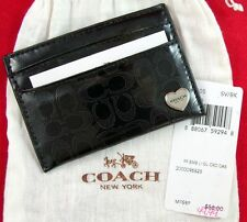 NWT COACH SIGNATURE BLACK  PATENT LEATHER Business/Credit Card Holder & DUST BAG