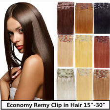 "One * 15"" Remy Human Hair Clip In Extensions 7pcs & 70g, 23 colors available"