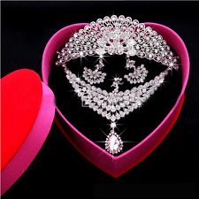 Hot Charm WOMEN Crystal Wedding Jewelry Necklace Earrings Crown 3 Pieces New Set