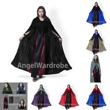 Halloween Medieval Velvet Hooded Cloak Gothic Wicca Robe Wedding Cape S-6XL