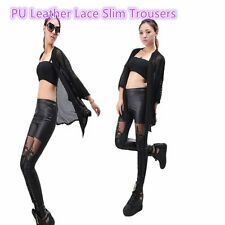Female PU Leather Lace Embroidered Stretchy Leggings High Elasticity BC