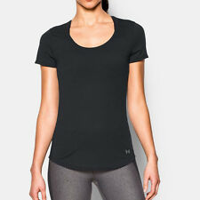 Under Armour Charged Womens Black Short Sleeve Scoop Neck Running T Shirt Tee