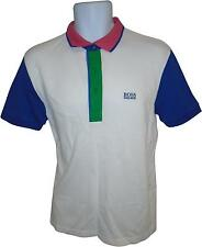 USED Mens Hugo Boss White And Blue Collared Polo Top Size M (MI.F)