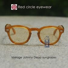 Retro Vintage Johnny Depp sunglasses blonde frame light amber lenses mens glass