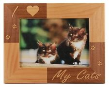 I LOVE MY CATS ENGRAVED ALDERWOOD CAT PHOTO FRAME in four sizes #0293