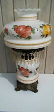 Large Gone With The Wind Lamp Crystal Prisms Autumn Colors Victorian
