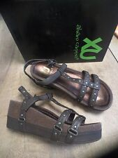 Sandal XU leather brown NEW Val E wedge 7cm flat 4cm Size 37,38,40