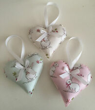 HANDMADE FABRIC HANGING HEARTS - SET OF TWO - BUNNY - SHABBY CHIC - VINTAGE