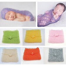Newborn Baby Mohair Crochet Knitted Wrap Photo Prop Photography Blanket Outfits