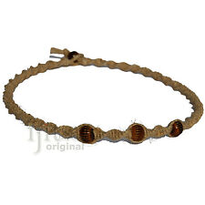 Natural thick twisted hemp necklace with three brown bone beads, custom