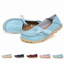 Womens Hollow Leather Comfort Casual Walk Bowed Flat Shoes Loafers Moccasin