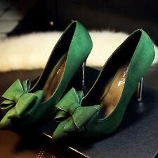 Women Fashion Pumps High Heels Bow-Tie Shoes Elegant Wine Red Pointed Toe Shoes