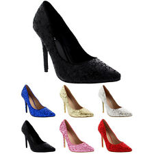 Womens Prom Crystals Bridal High Heels Party Stiletto Heel Court Shoes US 5-11