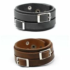 Genuine Leather Handmade Cuff Wrap Wristband Bracelet Double Buckle Black Brown