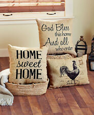 Vintage Burlap Decorative Pillows-HomeSweetHome, BlessThe Home Or Rooster