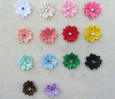 50PCS Crystal HOT Appliques with Craft/Trim NEW Ribbon Bead Flower Satin DIY