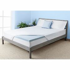 """2"""" Gel Memory Foam Mattress Topper Pressure Relief With Mattress Cover All Sizes"""