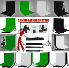 Pro.Photo Muslin Backdrop Black White Green Cotton Background Stand Support Kit