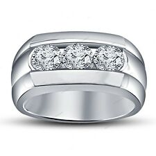925 Silver Three Stone Simulated Diamond  Men's Band Ring 14K White Gold Finish