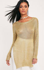 PrettyLittleThing Womens Margarita Metallic Gold Knitted Oversized Jumper
