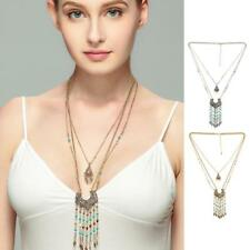 Women Accessory Retro Bohemia Ethnic Multi Beads Tassel Pendant Long Necklace