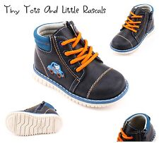 Boys Spring Autumn Hi Top Ankle Shoes Zip Up Leather Insole Size UK 4 - 8.5