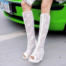 Womens Leather High Heels Wedges & Platforms Open Toe Solid Lady Sandals Shoes