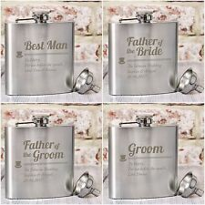 Personalised Hip Flasks, Best Man, Groom, Father of the Bride, Wedding Gifts