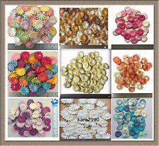 """100 pc Mulberry Paper Daisy Flowers Embellishment Cardmaking 25mm/1"""""""