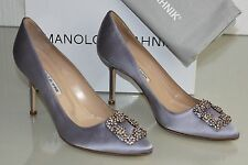 $965 NEW MANOLO BLAHNIK HANGISI Lavender Lilac JEWELED SHOES  40 40.5 41
