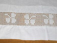 "Vintage White Cotton Bed Sheet with Crocheted Pattern Edge-81"" X 81"""