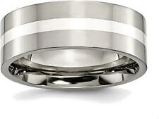 Titanium w/ Sterling Silver Inlay Flat 8mm Polished Band Ring