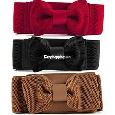 Hot Women Girls Graceful Bowknot Elastic Lovely Belt With Buckle Waistband ES9P