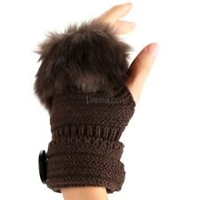 Women Gloves Knit Faux Fur Fingerless Warm Crochet Black Outwear Fur LM